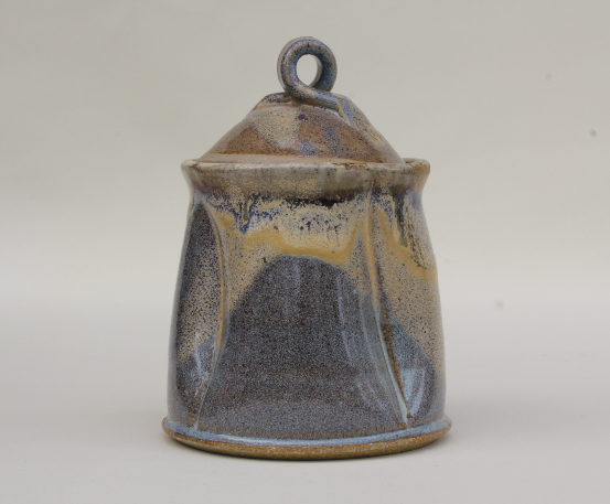 Blue and Yellow Lidded Pot
