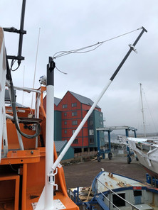 We have a brand new davit, able to launch and recover our Y class inflatable or to assist with Man overboard recovery.