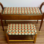 Upholstery of matching colourful stools