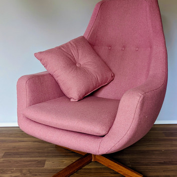 Reupholstery of this lovely pink chair in a Warwick fabric - Candy Pink Amatheon