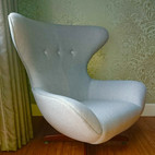 Uphostery of a modern egg chair
