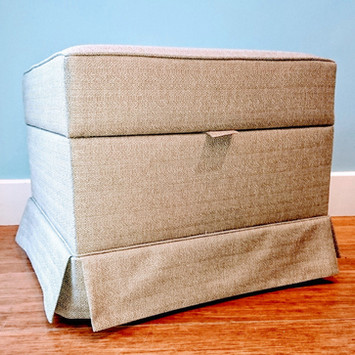 Upholstery of a storage footstool