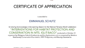 Contribution to an educational webinar for the Tamaraw Month (October 31, 2020)