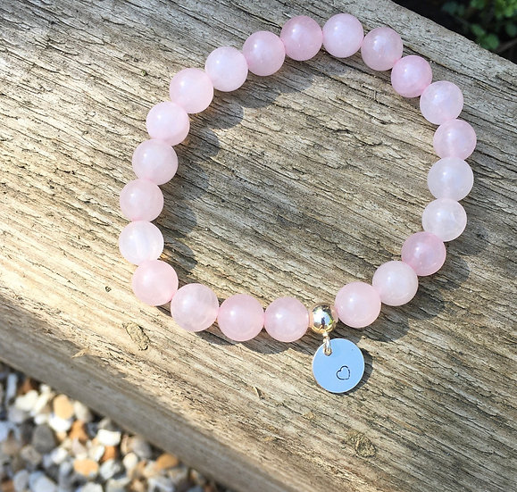 Rose Quartz Heart Charm Bracelet