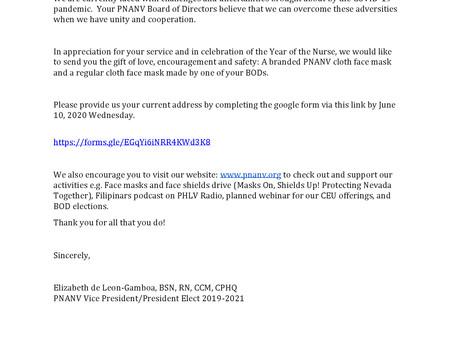 PNANV Face Masks and Address Update