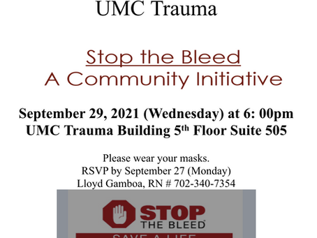 """""""Stop the Bleed: A Community Initiative"""" from PNANV in collaboration with UMC Trauma"""