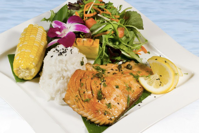 Grilled Salmon with lemon butter sauce