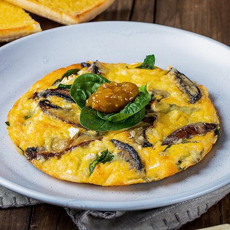 mushroom, feta & spinach open omelette.j