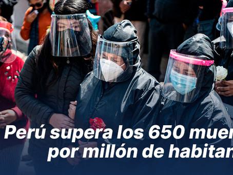 Perú supera los 650 muertos por millón de habitantes