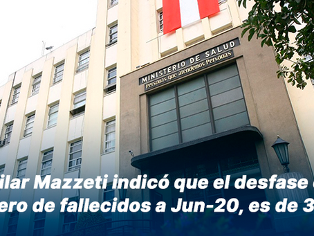 Pilar Mazzeti indicó que el desfase en el número de fallecidos a Jun-20, es de 3.688