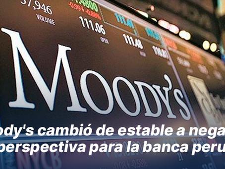 Moody's cambió de estable a negativa su perspectiva para la banca peruana