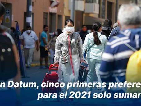 Según Datum, cinco primeras preferencias para el 2021 solo suman 38%