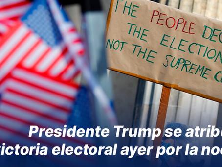 Presidente Trump se atribuyó la victoria electoral ayer por la noche