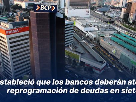 SBS estableció que los bancos deberán atender reprogramación de deudas en siete días