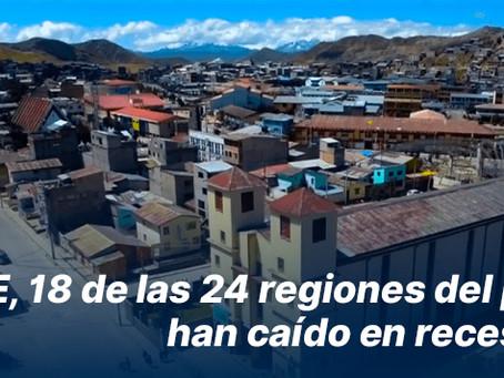 IPE, 18 de las 24 regiones del país han caído en recesión