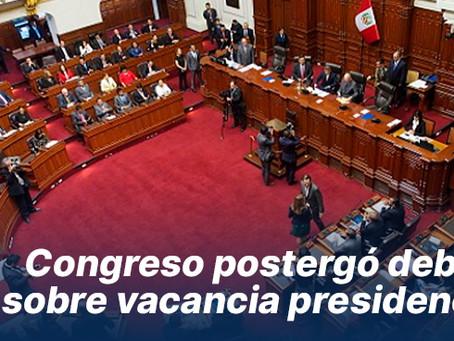 Congreso postergó debate sobre vacancia presidencial