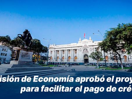 Comisión de Economía aprobó el proyecto para facilitar el pago de créditos