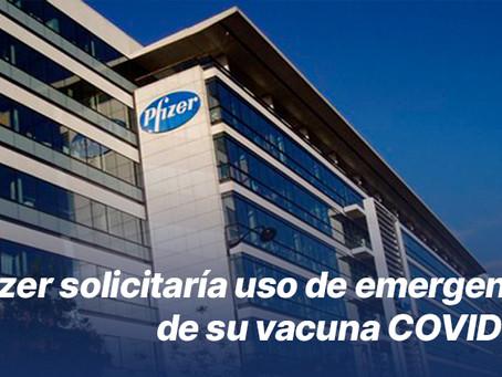 Pfizer solicitaría uso de emergencia de su vacuna COVID-19