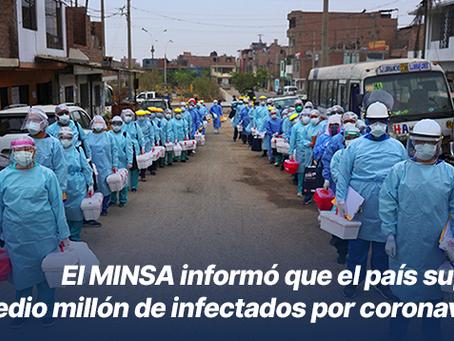 El MINSA informó que el país superó el medio millón de infectados por coronavirus
