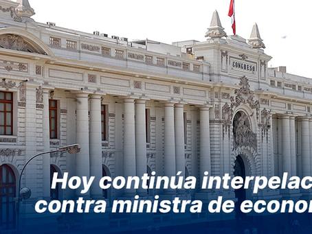 Hoy continúa interpelación contra ministra de economía