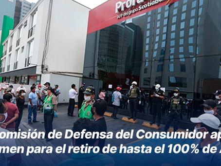 Comisión de Defensa del Consumidor aprobó dictamen para el retiro de hasta el 100% de AFP