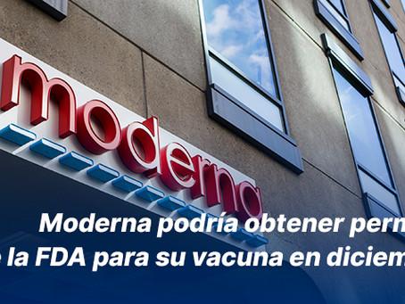 Moderna podría obtener permiso de la FDA para su vacuna en diciembre