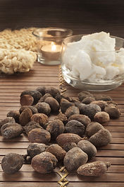 shea nuts on a natural and ethnic backgr