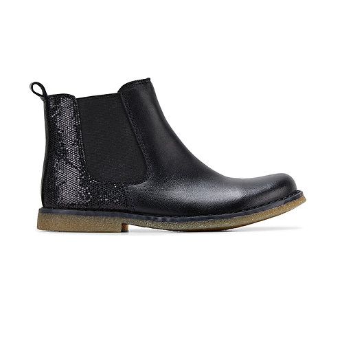 Clarks - Girls Leather Boot (Black Sparkle)