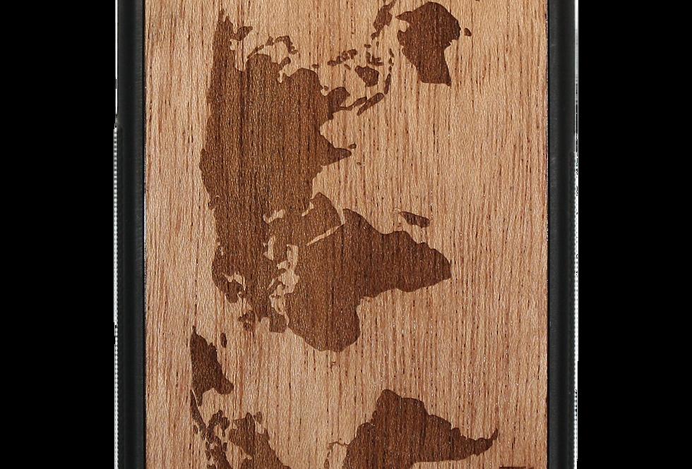 Slim Wooden Phone Case (World Map Traveler in Mahogany)