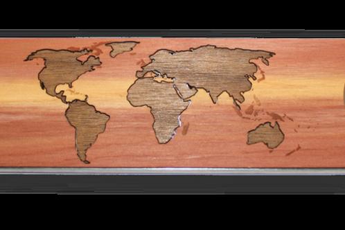 Industrial Wood Bottle Opener - World Map Traveler