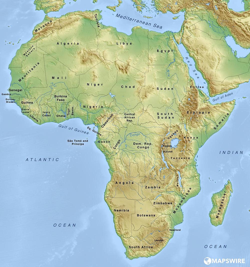 Cartina Dell Africa Fisica E Politica.Cartina Africa Centrale