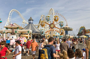 an-amusement-park-with-a-crowd-of-visito