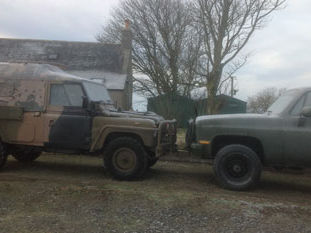 Perentie parked nose to nose with my M1008  which is ex 352nd special ops RAF Mildenhall. Owner Iain Adair