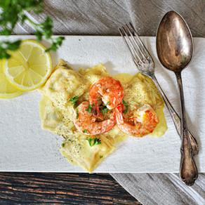 Shrimp-Ravioli mit Zitronenschaum