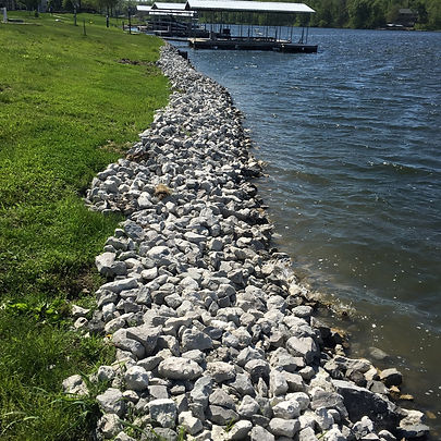 Shoreline rock installation