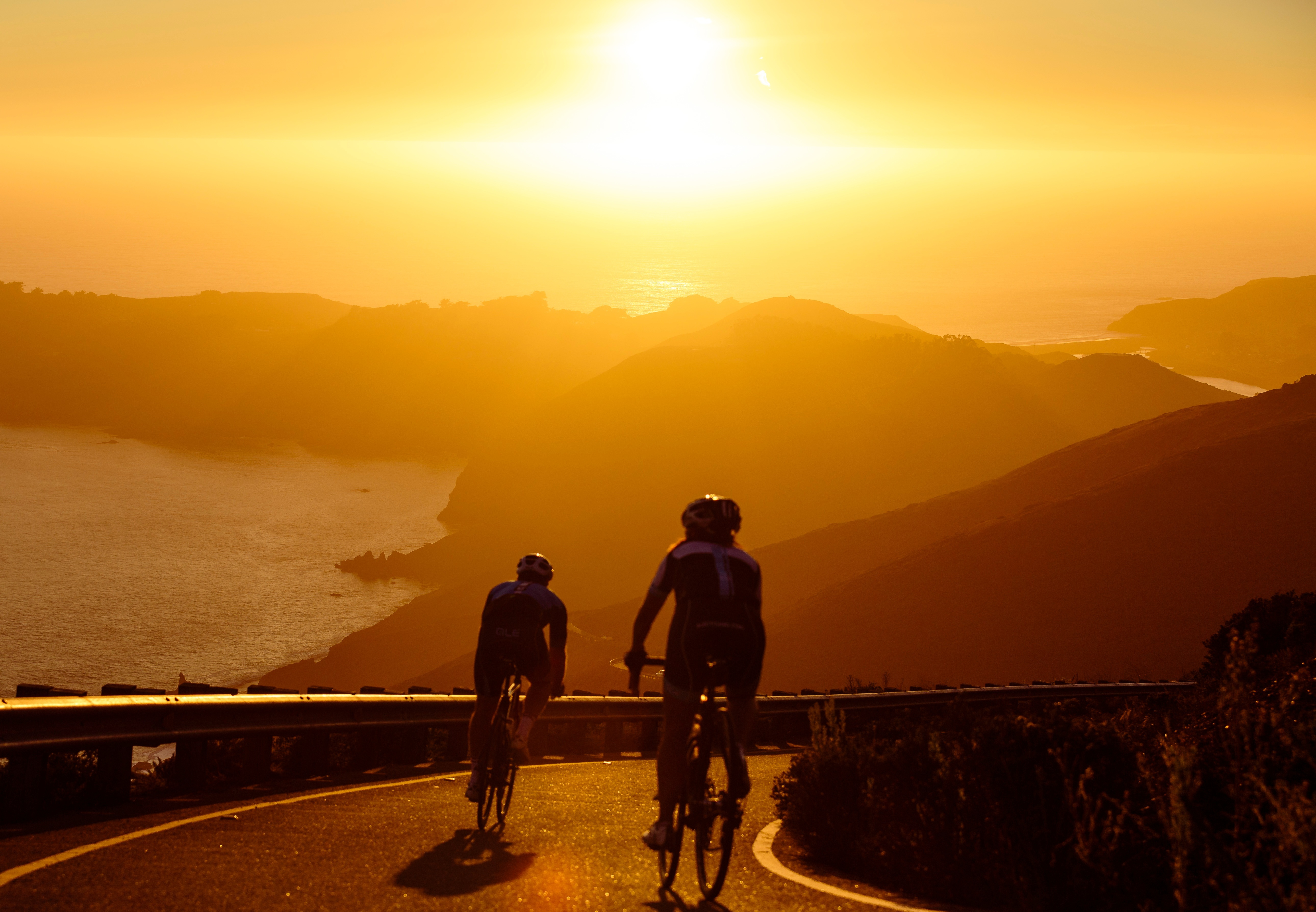 Cycling at sundown