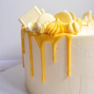 Lemon & White Chocolate Drip Cake