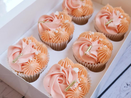 Peaches and cream theme cupcakes