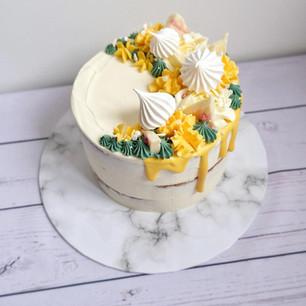 Lemon Meringue Drip Cake
