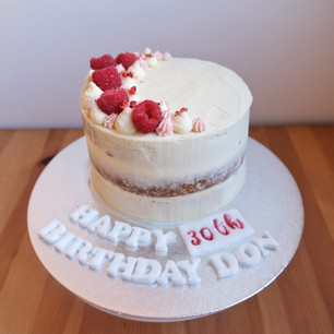 Vanilla & Raspberry Semi Naked Cake