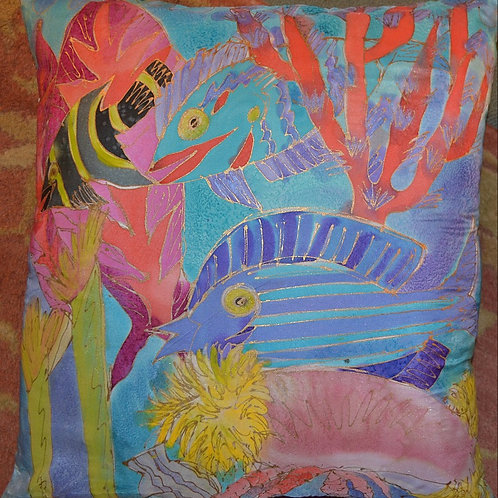 Silk Blue  Fish 18x18