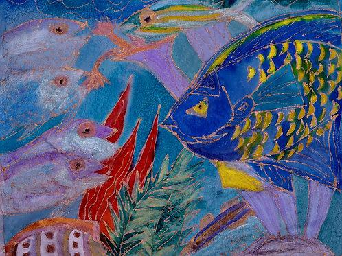 Blue  Queen Angel Fish 18x18