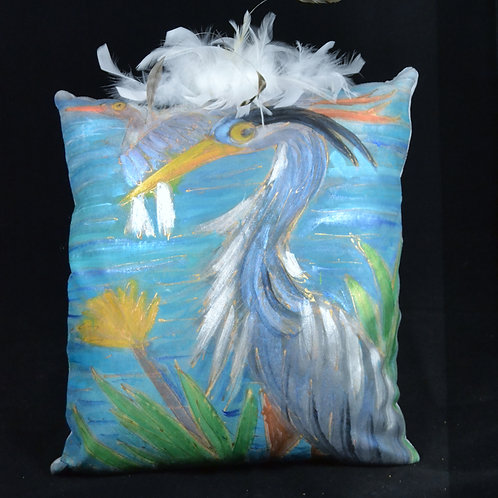 Blue Heron 16x16 w feathers