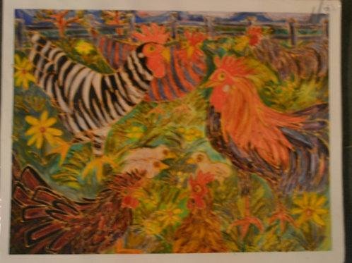 Barnyard Chickens 1  Giclee