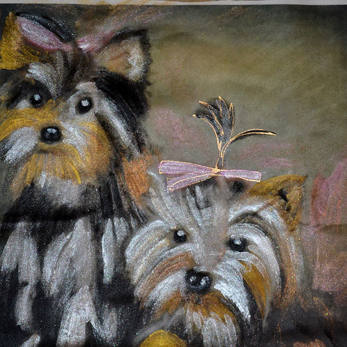 2 Yorkshire terriers  18x18