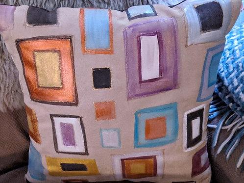 Aztec squares purple and gray