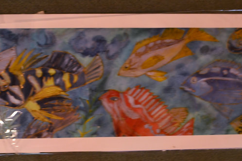 Koi and others (silk painting ) giclee