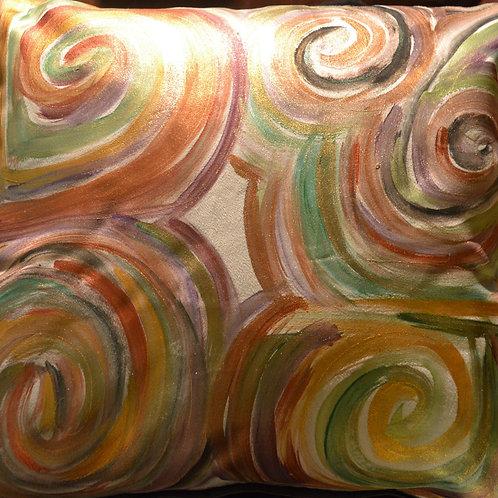 Swirls Earth /white 18x18
