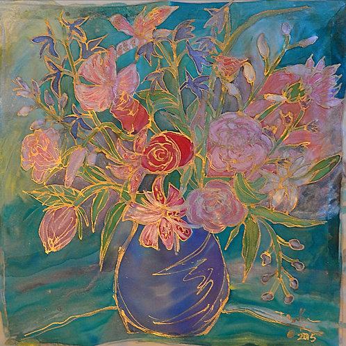 Pink vase delight  18x18