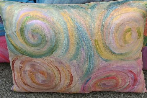 Tan suede with swirls of greens?Rusts 12x16
